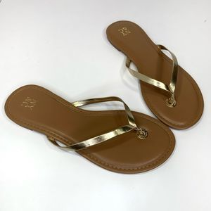 New York & Company Size 8 Gold & Tan Sandals